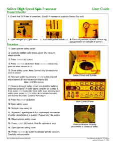 Solitec High Speed Spin Processor User Guide Prestart Checklist Procedure