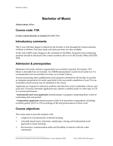 Bachelor of Music Course code: F3K Introductory comments