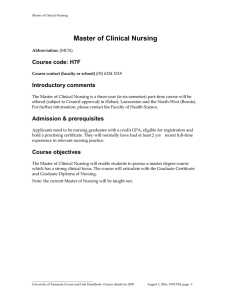 Master of Clinical Nursing Course code: H7F Introductory comments