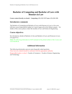 Bachelor of Computing and Bachelor of Laws with Honours in Law