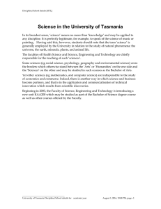 Science in the University of Tasmania