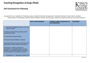 Teaching Recognition at Kings (TRaK)  Self-Assessment for Fellowship