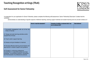 Teaching Recognition at Kings (TRaK)  Self-Assessment for Senior Fellowship