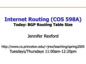 Internet Routing (COS 598A) Jennifer Rexford Today: BGP Routing Table Size Tuesdays/Thursdays 11:00am-12:20pm