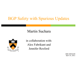 BGP Safety with Spurious Updates Martin Suchara in collaboration with: Alex Fabrikant and