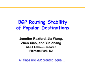 BGP Routing Stability of Popular Destinations not Jennifer Rexford, Jia Wang,