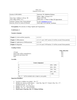 MAC 2311 Calculus I-FALL 2014  Calculus I (CRN 80081)
