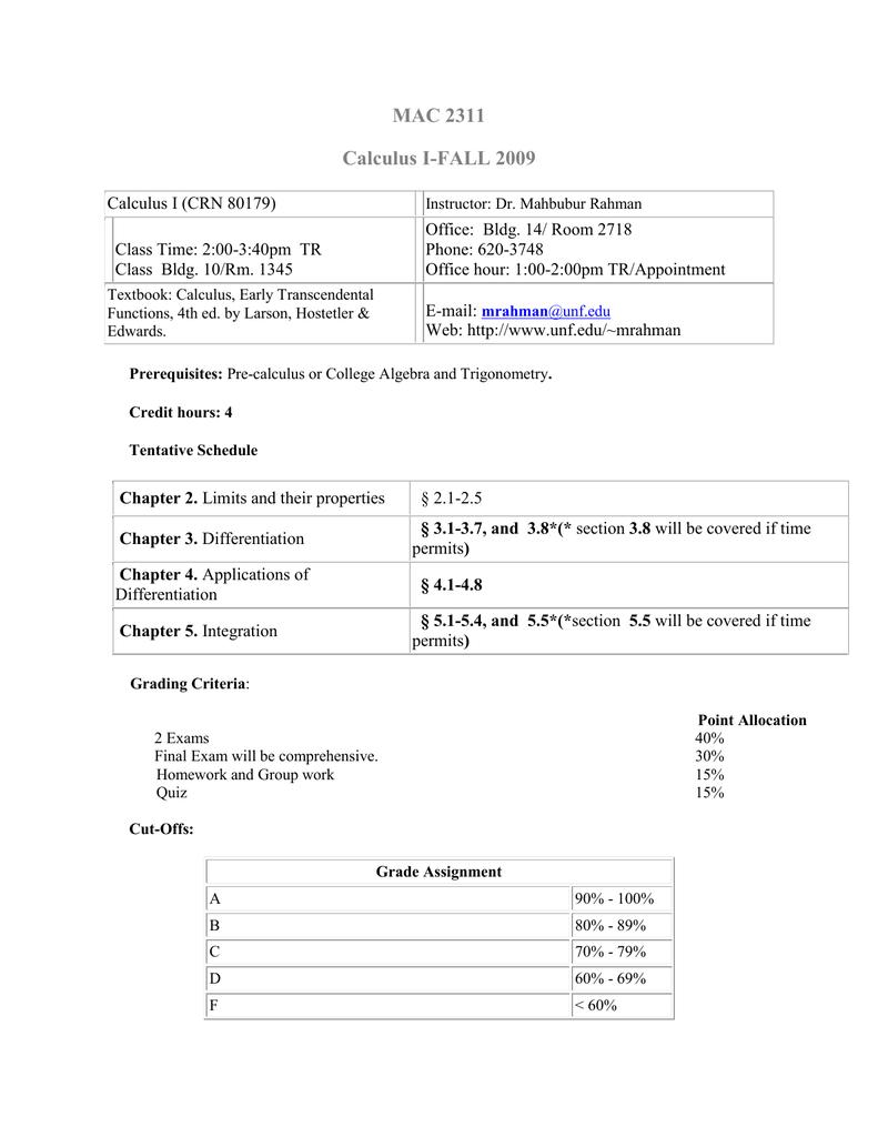 MAC 2311 Calculus I-FALL 2009
