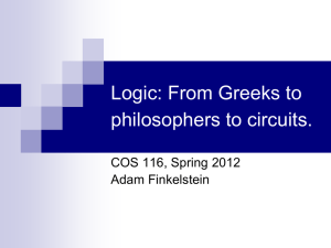 Logic: From Greeks to philosophers to circuits. COS 116, Spring 2012 Adam Finkelstein