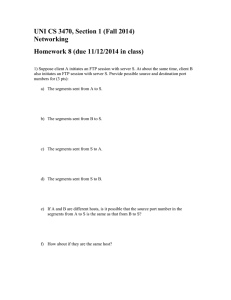 UNI CS 3470, Section 1 (Fall 2014) Networking
