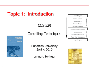 Topic 1:  Introduction COS 320 Compiling Techniques Princeton University