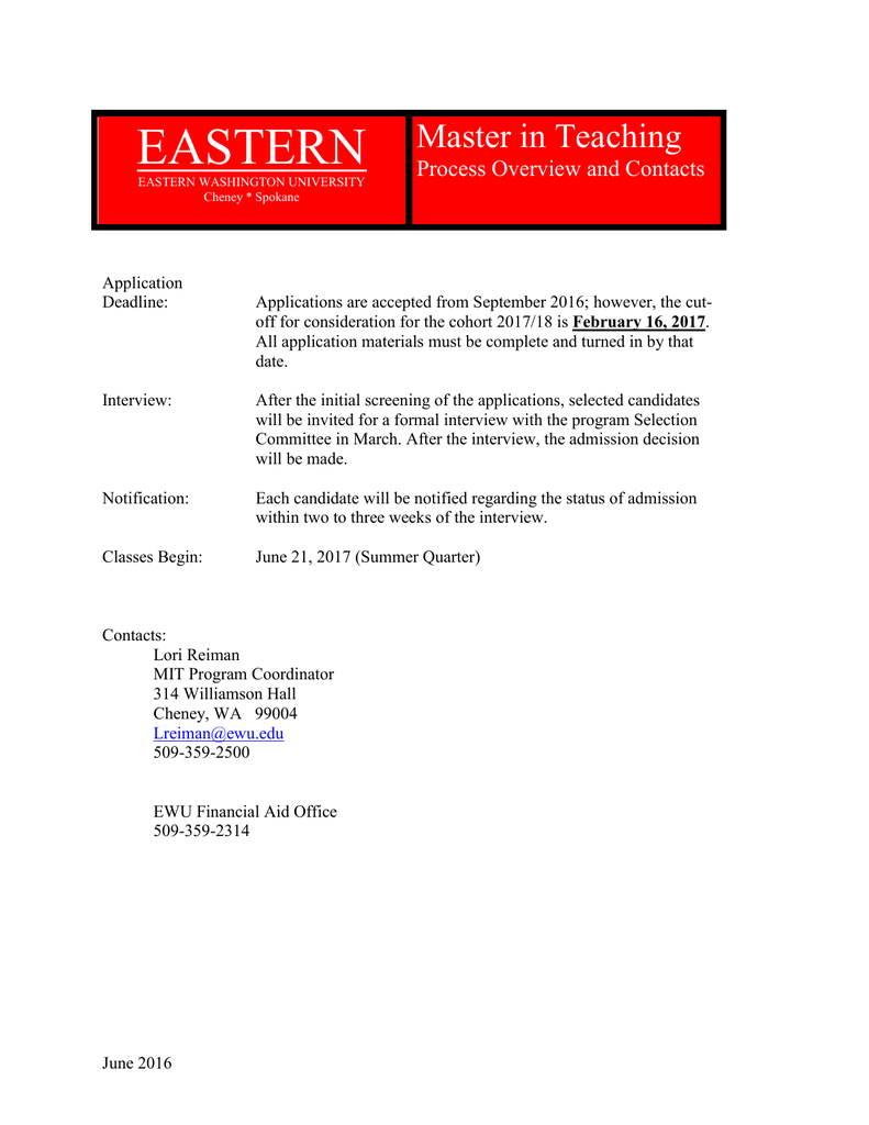 Ewu Financial Aid >> Eastern Master In Teaching Process Overview And Contacts