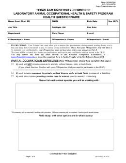 animal occupational health questionnaire form. Black Bedroom Furniture Sets. Home Design Ideas