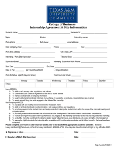 College of Business Internship Agreement Form