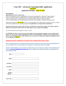 Coun 548 – Advanced Counseling Skills Application Fall 2015