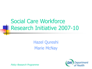 Social Care Workforce Research Initiative 2007-10 Hazel Qureshi Marie McNay