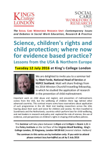 Science, children's rights, and child protection: where now for evidence based practice? Lessons from the USA and Northern Europe