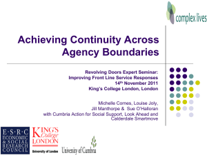 'Achieving continuity across agency boundaries' [ppt, 1.34 MB]