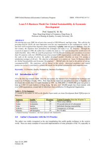 Lean 5-S Business Model For Global Sustainability & Economic Development