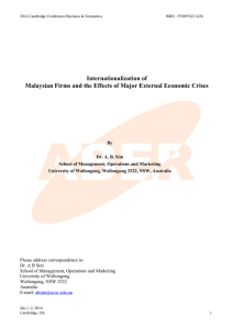 Internationalization of Malaysian Firms and the Effects of Major External Economic Crises