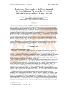 Employment Discrimination in the United States and the United Kingdom: The Interaction of Legal and Cultural Constraints on Human Resource Systems