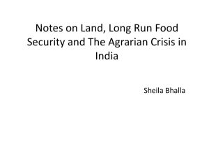 Notes on Land, Long Run Food India Sheila Bhalla