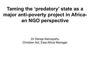 ''Taming the 'predatory' state – the major antipoverty project in Africa''
