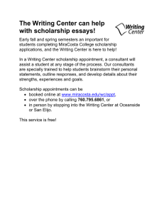 The Writing Center can help with scholarship essays!