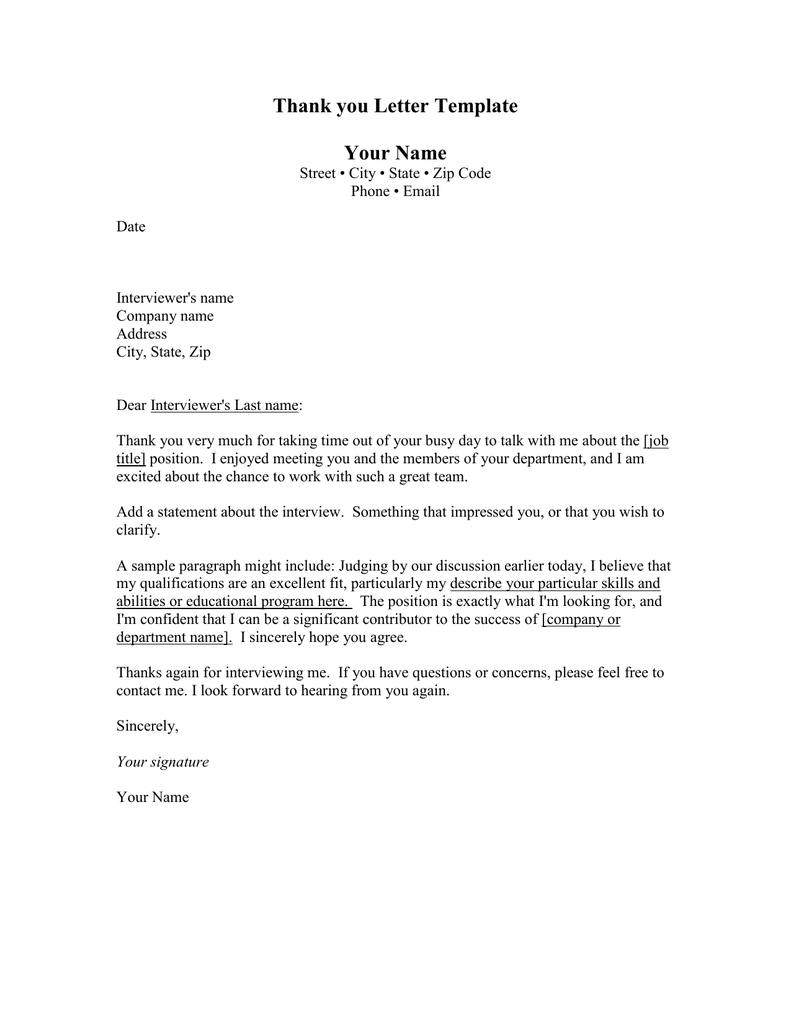 Thank You Letter Template Your Name