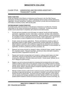 Admissions and Records Assistant - Transcript Clerk