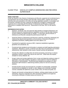 Admissions and Records Supervisor, San Elijo