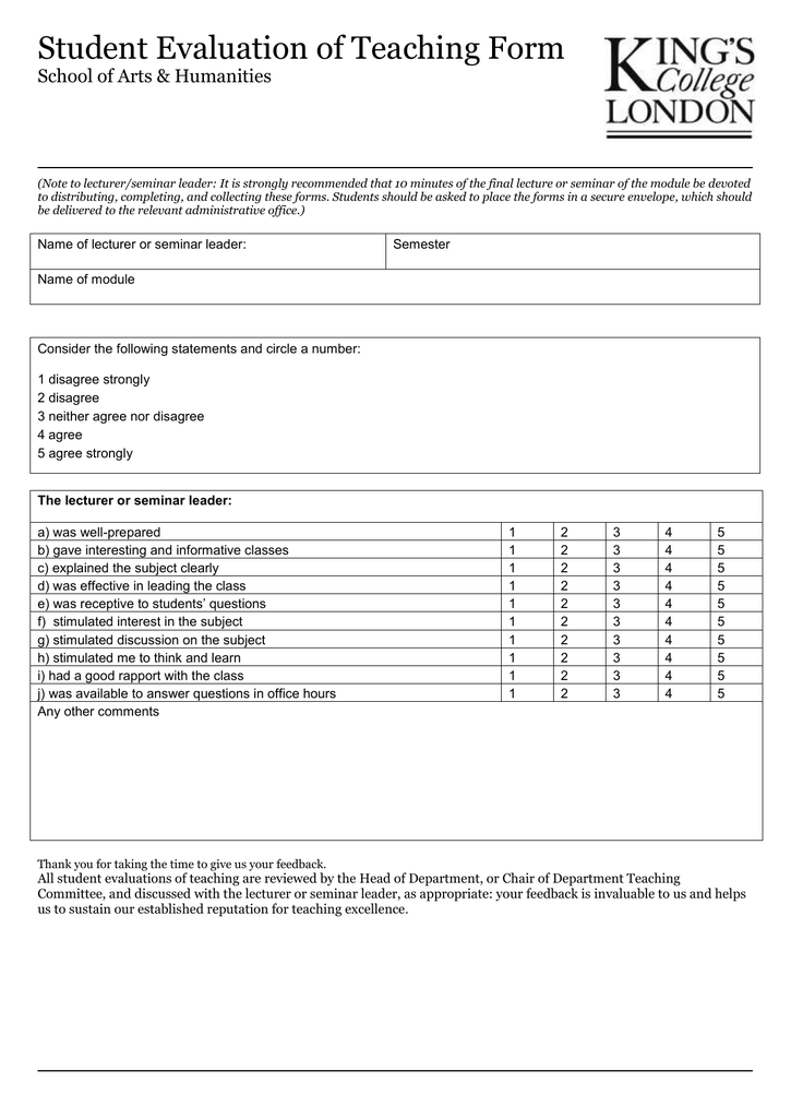 Teaching Evaluation Form for Students – Lecture Evaluation Form