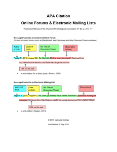 APA Citation Online Forums & Electronic Mailing Lists