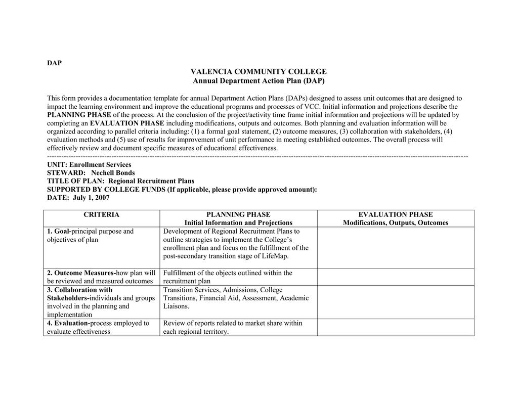 College Recruitment Plan Template from s2.studylib.net