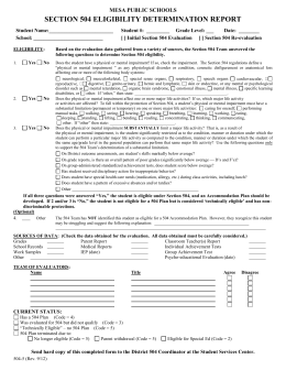Initial Disability Determination and Reevaluation