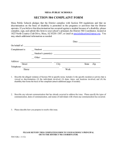 SECTION 504 COMPLAINT FORM