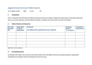 Suggested format of Licensee Public Response