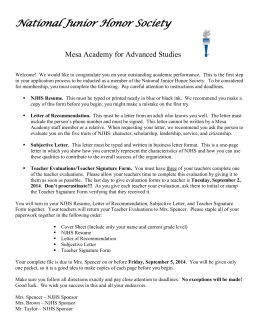 Bcma National Junior Honor Society Application Packet Cover Page National Junior Honor Society Mesa Academy For Advanced Studies