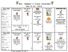 Mrs. Bamper's Class Calendar  Dec.8-19, 2014 Homework goes