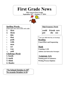 First Grade News Spelling Words  1.