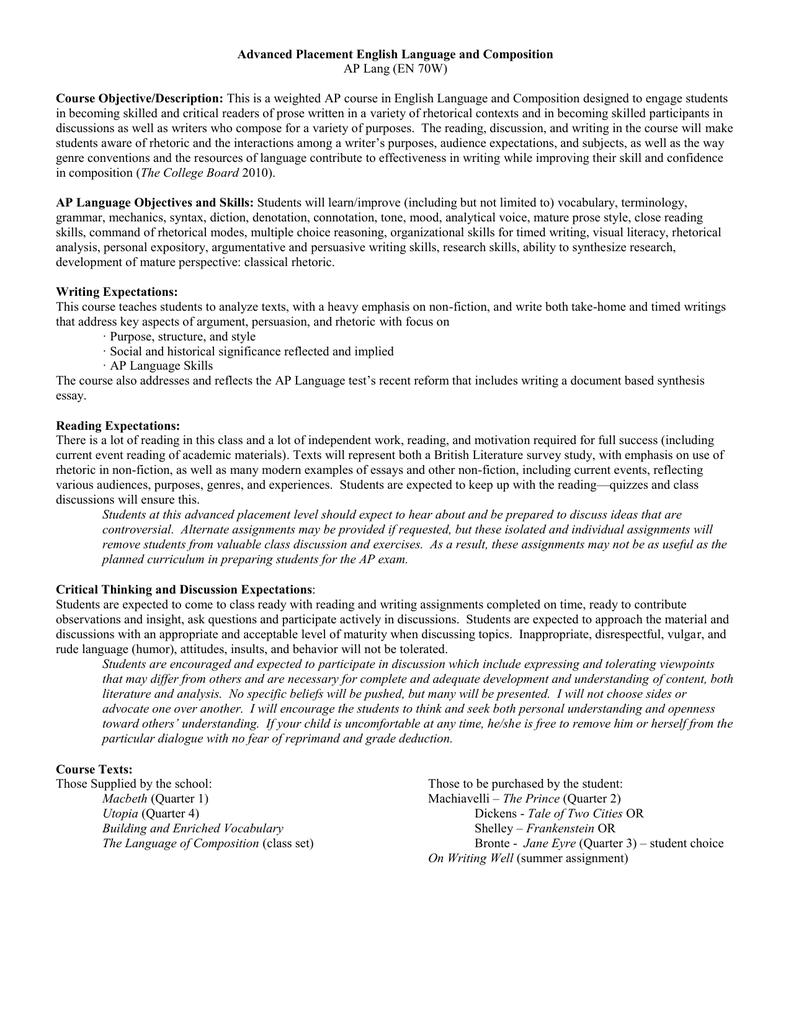 Advanced Placement English Language and Composition Course  Objective/Description: AP Lang (EN 70W)