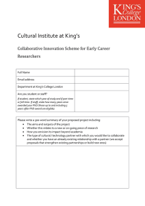 Cultural Institute at King's  Collaborative Innovation Scheme for Early Career Researchers