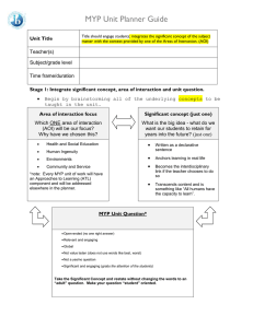 MYP Unit Plan Guide