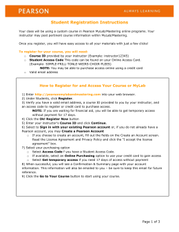 Pearson Student Registration Instructions