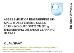 McGraw, K. (2008) PowerPoint presentation from the Assessment of Learning Outcomes in Engineering (aloe) International Conference, London, 27th Nov 2008.