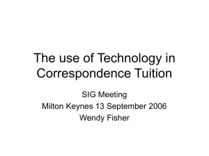 The use of Technology in Correspondence Tuition SIG Meeting