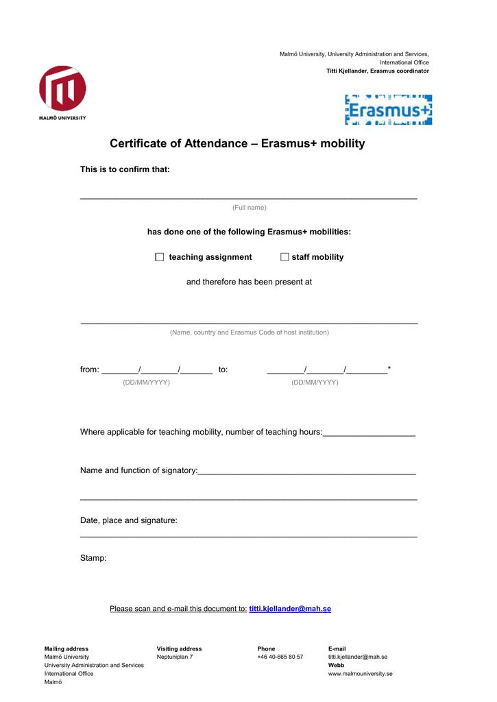 Erasmus Mobility Certificate Of Attendance