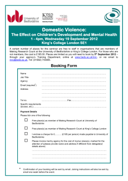 Domestic Violence:  The Effect on Children's Development and Mental Health
