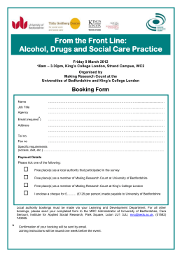 From the Front Line: Alcohol, Drugs and Social Care Practice