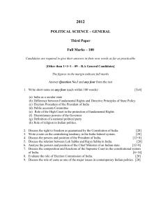 2012  POLITICAL SCIENCE – GENERAL Third Paper